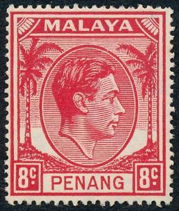 Malaya Penang 1949 8c Scarlet SG9 MH