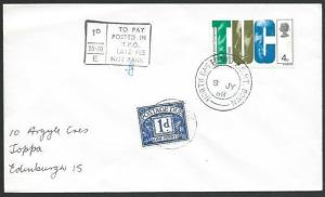 GB 1968 cover NORTH EASTERN TPO NT DOWN and late fee postage due...........53286