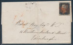 GREAT BRITAIN #1 (SG #2) PLATE 2 GLASGLOW TO KARKCALDY VF+ W/ RED CANCEL BU5238