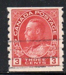 Canada Sc  130 1924 3 c carmine George V coil stamp used