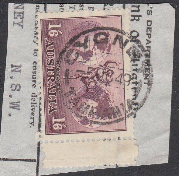 AUSTRALIA TASMANIA 1949 1/6d Hermes on piece CYGNET cds.....................Q893