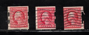 USA Lot Of 3 Coil Stamps With Schermack Preforations - 1 With Perfin