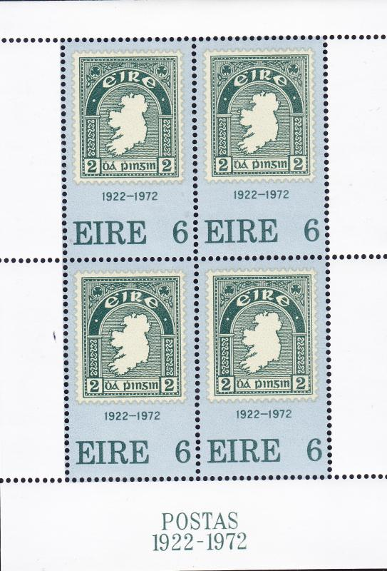 Ireland Nr.326 Sheetlet of 4. VF/XF/NH(**) 50th Anniv. of Irish Stamps