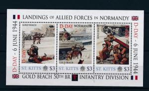 [81030] St. Kitts 2011 Second World war D-day Invasion Normandy Sheet MNH