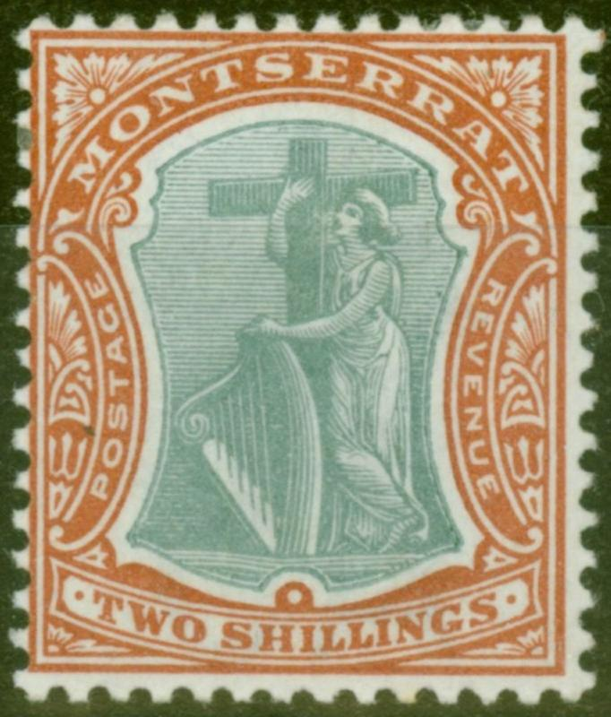 Montserrat 1903 2s Green & Brown-Orange SG21 Fresh & Fine Lightly Mtd Mint