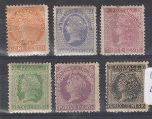 Prince Edward Island QV 1872 Set Of 6 MH J8133