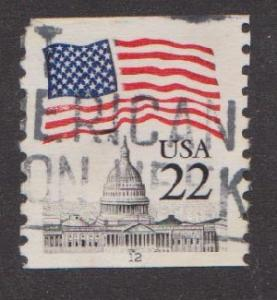 US #2115a Flag over Capitol Used PNC Single plate #12   Narrow Tag