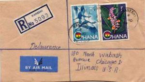 Ghana, Airmail, Registered, Flowers, Birds