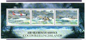 COCOS ISLAND 285a MH S/S SCV $12.00 BIN $6.00 AIR-EA RESCUE SERVICE