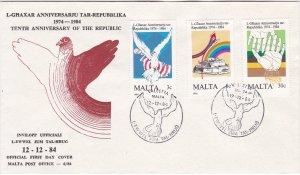 Malta # 650-652, 10th Anniversary of the Republic, First Day Cover