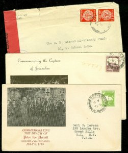 EDW1949SELL : PALESTINE 1936+1937 cover to USA. Also Early Israel Censored cover