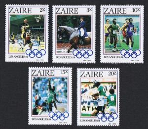 Zaire Olympic Games Los Angeles 5v SG#1195-1199 SC#1154-1158