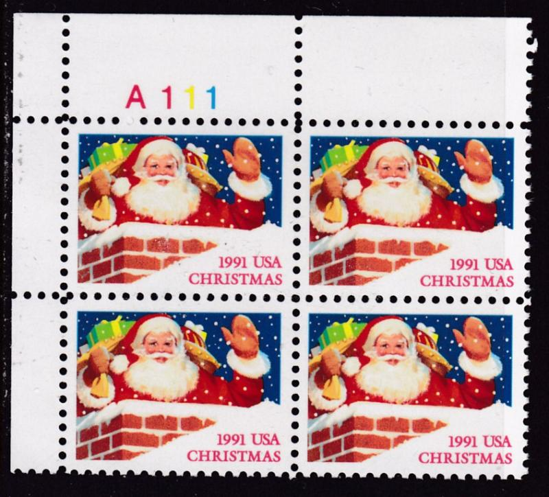 United States 1991 Christmas Issue Santa In Chimney Plate Nr.Block of Four VF/NH