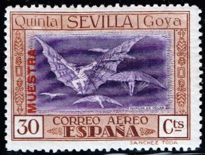 SPAIN STAMP GOYA AIR 30C MAIL MUESTRA Specimen ovpt MH/OG STAMP
