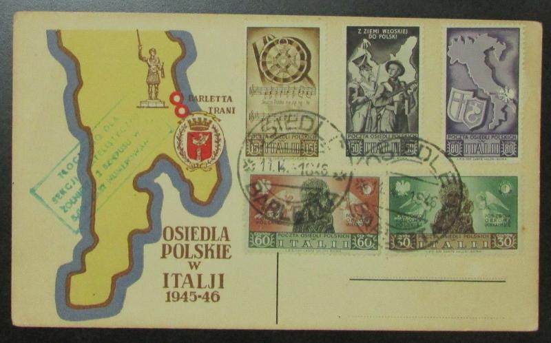 1944 Poland Army in Barletta Italy Issues on Postcard Cover