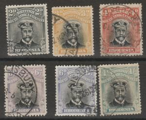 RHODESIA 1913 KGV ADMIRAL RANGE TO 1/- INCLUDING 6D SHADES DIE III PERF 14 USED