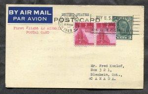 4037 - First Flight 4c Honolulu HAWAII to CANADA 1949 Dual Franking Postal Card