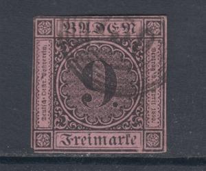 Baden Sc 4 used 1851 9kr Numeral on lilac rose paper, 4 margins