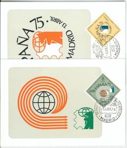 63754 - SPAIN - POSTAL HISTORY: Set of 2  MAXIMUM CARD 1974 -  STAMP EXHIBITION
