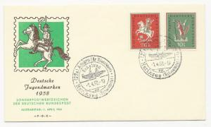 Germany Scott #B360-B361 on First Day Cover April 1, 1958 Deutsche Jugendmarken