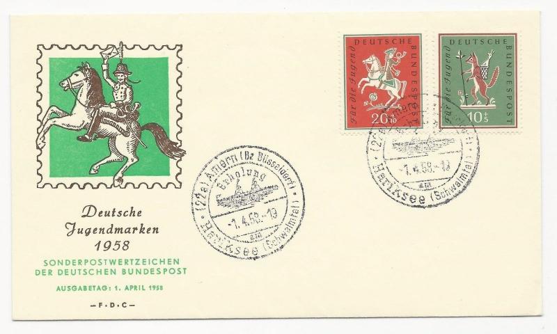 Germany Scott #B360-B361 on First Day Cover April 1, 1958 Deutsche Jugendmarken