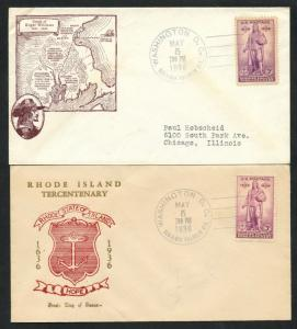 #777 FDC CACHETS BY BEVERLY HILLS & 1ST CLIFFORD (2) DIFF MAY 5,1936 BU3324