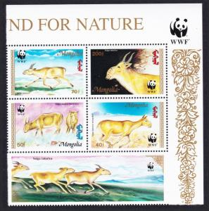 Mongolia WWF Saiga Top Right Block of 4 with WWF Logo and label SG#2497-2500