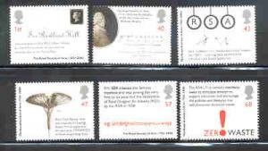 Great Britain Sc 2222-7 2004 Royal Society of Arts stamp set mint NH