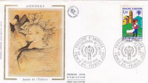 Andorra 1979 International Year of the Child Silk Unadressed FDC