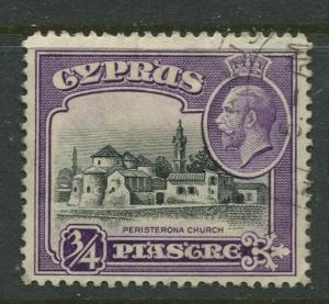 Cyprus - Scott 127 - KGV Definitive Issue -1934 - Used - Single 3/4pi Stamp