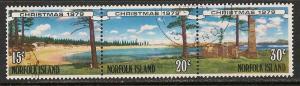 Norfolk Island #253b Strip 3 VF Used - 1979 Emily Bay Beach