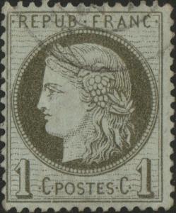 FRANCE - Yv.50 1c vert-olive Obl. - cassures au cadre inférieur (défauts)