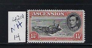 ASCENSION IS. SCOTT #42CD 1938-53 GEORGE VI 11/2 P (LILAC ROSE) PERF 14  MINT NH