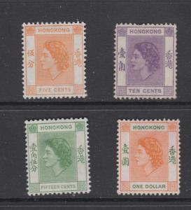 Hong Kong - Scott 185-187,194-QEII Defitive -1954 - MH -Short Set of 4 Stamps