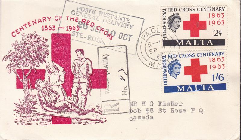 Malta 1963 Red Cross Centenary First Day Cover Registered Cachet to Canada VF