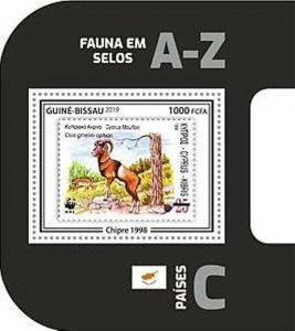 Guinea-Bissau - 2019 WWF Fauna Stamp on Stamp - Souvenir Sheet - GB190403b17