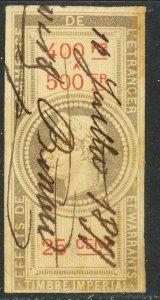 FRANCE 1864 25c NAPOLEON III EFFETS DE COMMERCE Revenue YVT.EC30 VFU