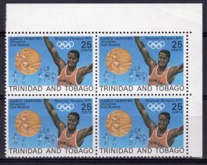 Trinidad and Tobago 1977 Sc#267 Montreal Olympics Gold Medal Block of 4 MNH