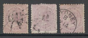 New South Wales Sc 57, 57b, 57c used. 1872 6p lilac QV, 3 different perfs