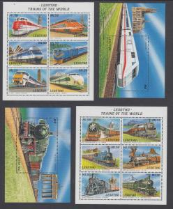 Lesotho Sc 1058-1061 MNH. 1996 Trains, Mini-Sheets + Souvenir Sheets cplt
