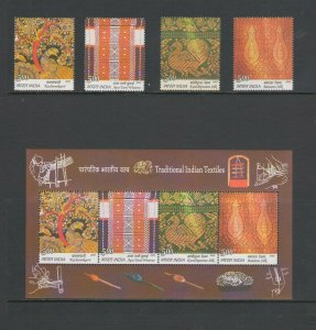 INDIA:Sc.2383-86,a  **TRADITIONAL TEXTILES**/ Set of 4 & SS  / MNH