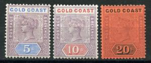 GOLD COAST  SCOTT#22/23, 25  MINT  HINGED--SCOTT VALUE $400.00