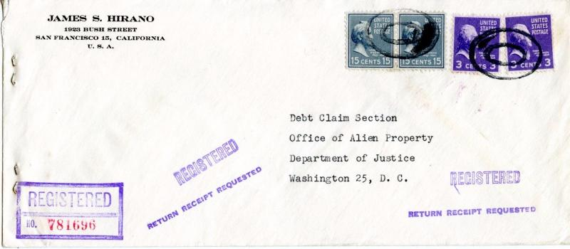 US Scott 820 & 807 Prexies On Registered 1949 Cover to Office of Alien Property