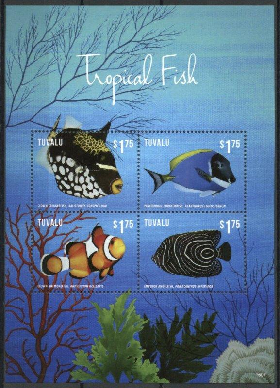 Tuvalu Fishes Stamps 2015 MNH Tropical Fish Marine Clown Anemonefish 4v M/S I