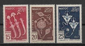 French Morocco 1953, Daggers, Brooches, Antique Art, Scott # 285-287,VF MLH*OG