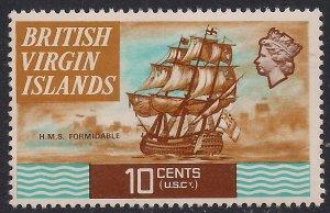 British Virgin Islands 1970 – 74 QE2 10ct HMS Formidable Umm SG 248 ( J217 )