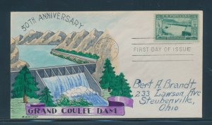 #1009 3c GRAND COULEE DAM ON W.N. WRIGHT FDC CACHET HANDPAINTED 5/1/52 BU9841