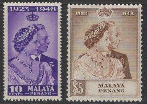 MALAYA PENANG SG1/2 1948 SILVER WEDDING MTD MINT