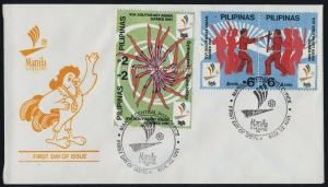 Philippines 2111a,3a.3b,3c on FDC's - Southeast Asian Games, Gymnastics