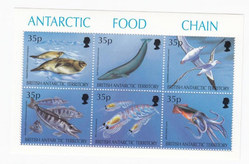 BRITISH ANTARCTIC TERRITORY # 230 VF-MNH S/SHEET OF 6 ANTARCTIC FOOD CHAIN